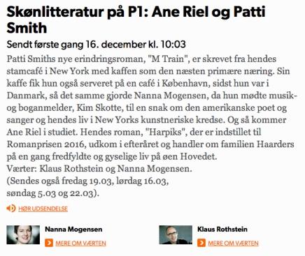 Ane Riel i Skønlitteratur på P1