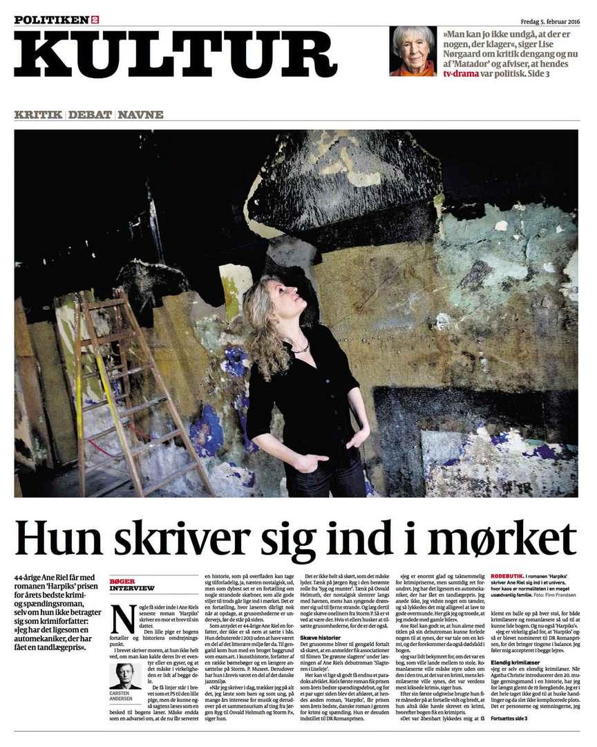 Interview med Ane Riel i Politiken, 5. februar 2016