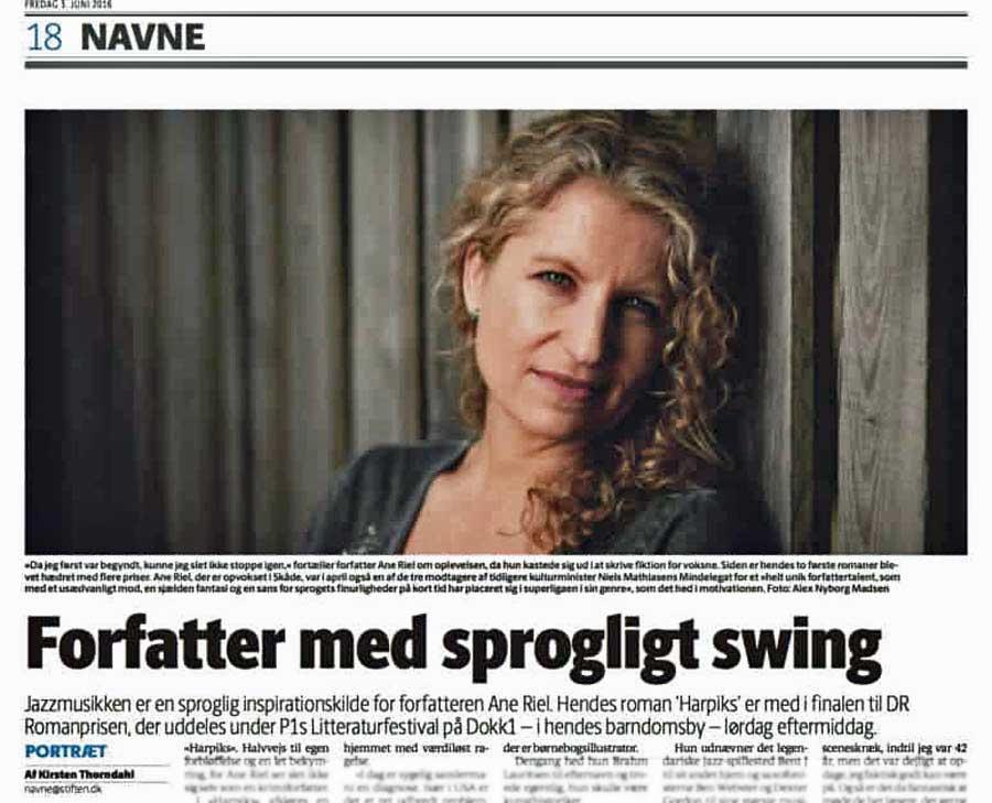 Portræt af Ane Riel fra Aarhus Stifftidende, 3. juni 2016